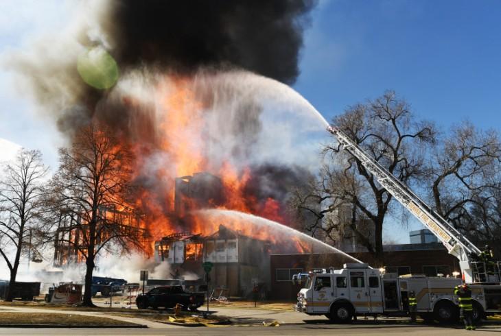Fire downtown Denver